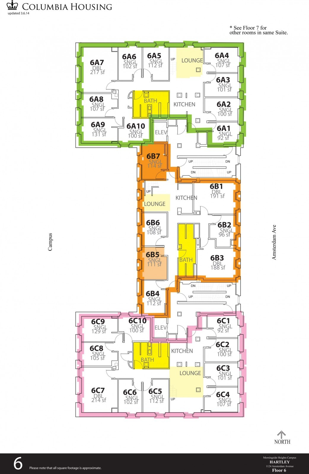 Floor Plan - Hartley Hall Sixth Floor