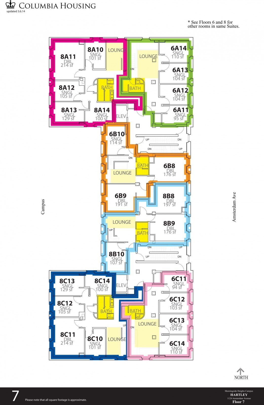 Floor Plan - Hartley Hall Seventh Floor