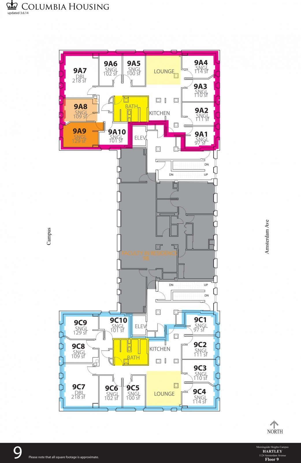 Floor Plan - Hartley Hall Ninth Floor