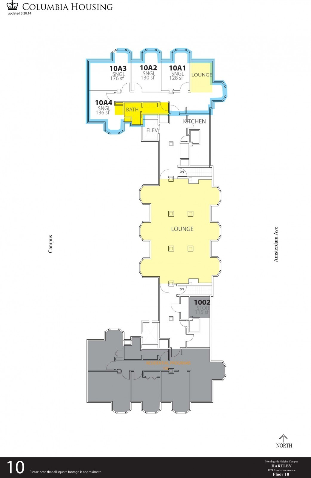 Floor Plan - Hartley Hall Tenth Floor