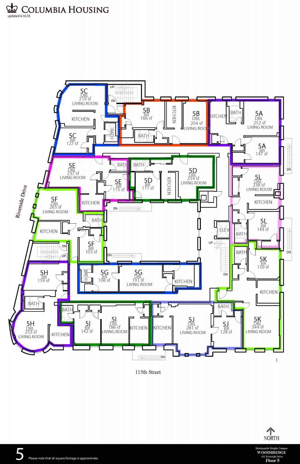 Floor Plan - Woodbridge Hall Fifth Floor