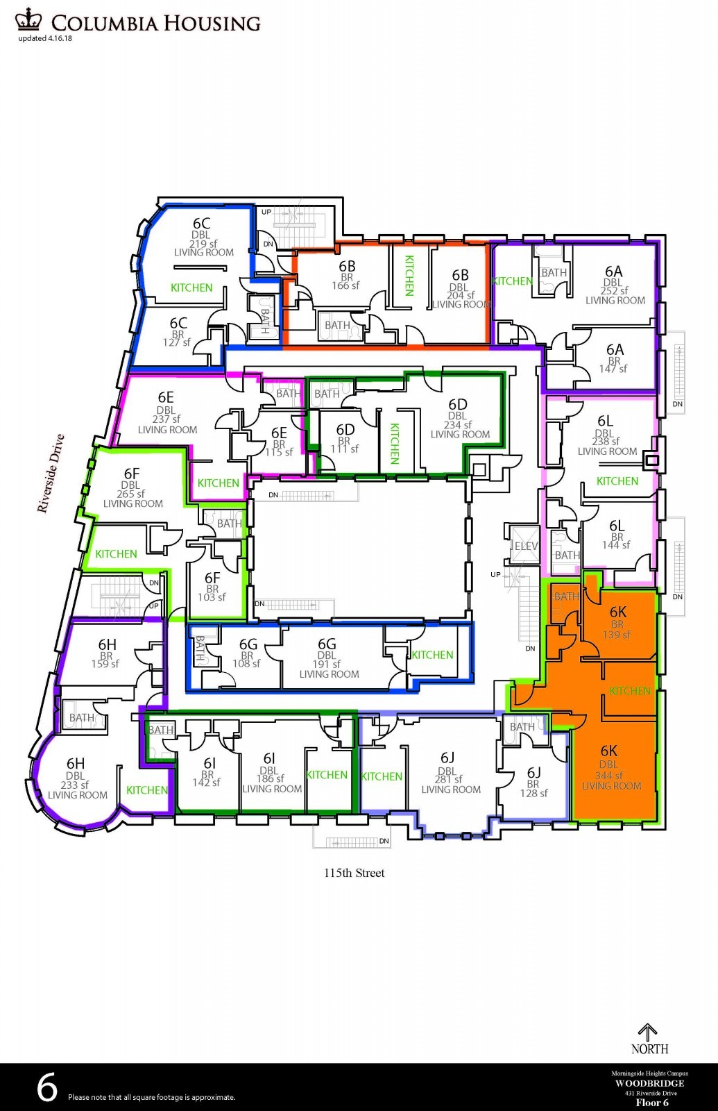 Floor Plan - Woodbridge Hall Sixth Floor