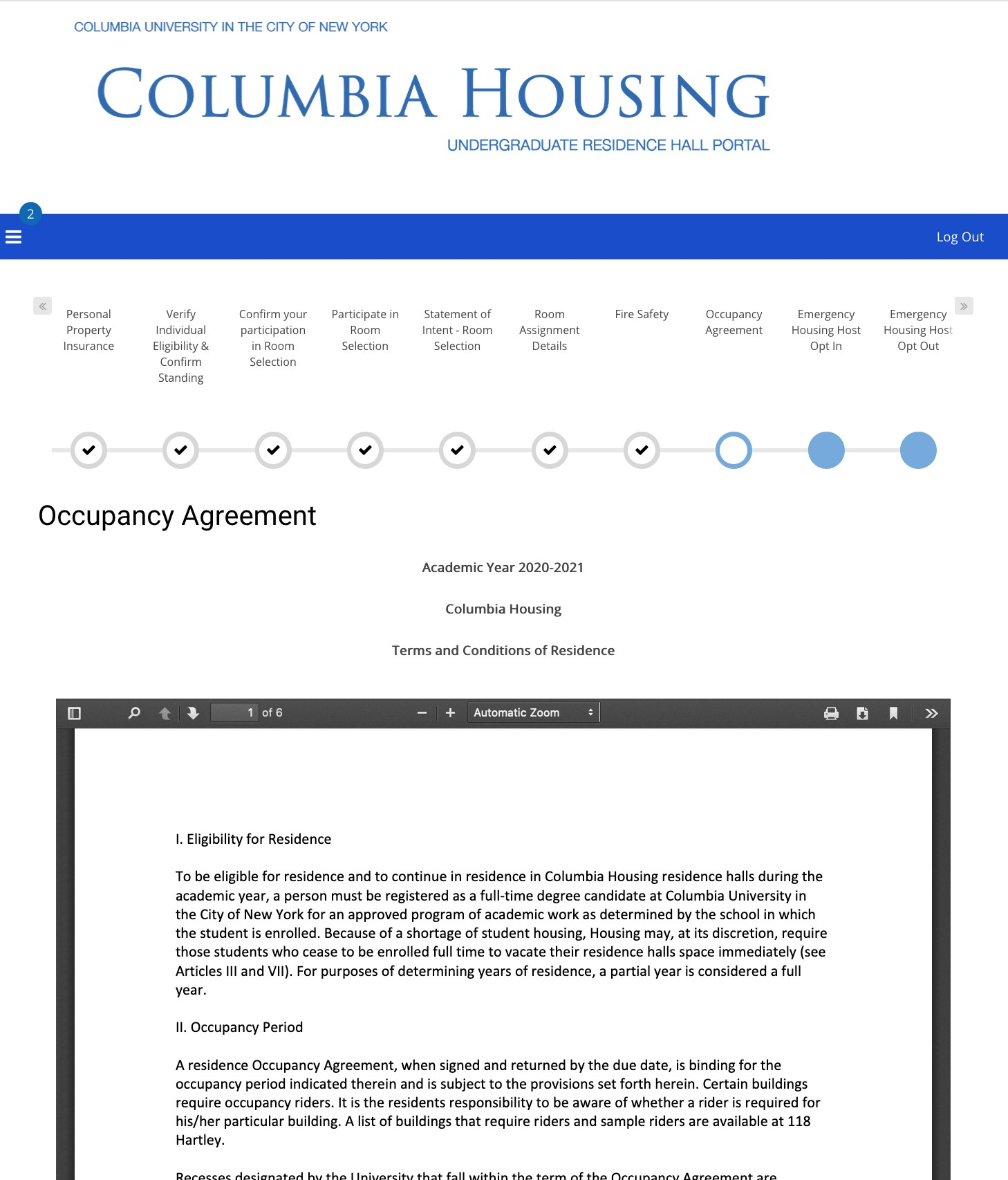 Step 5: Review Occupancy Agreement