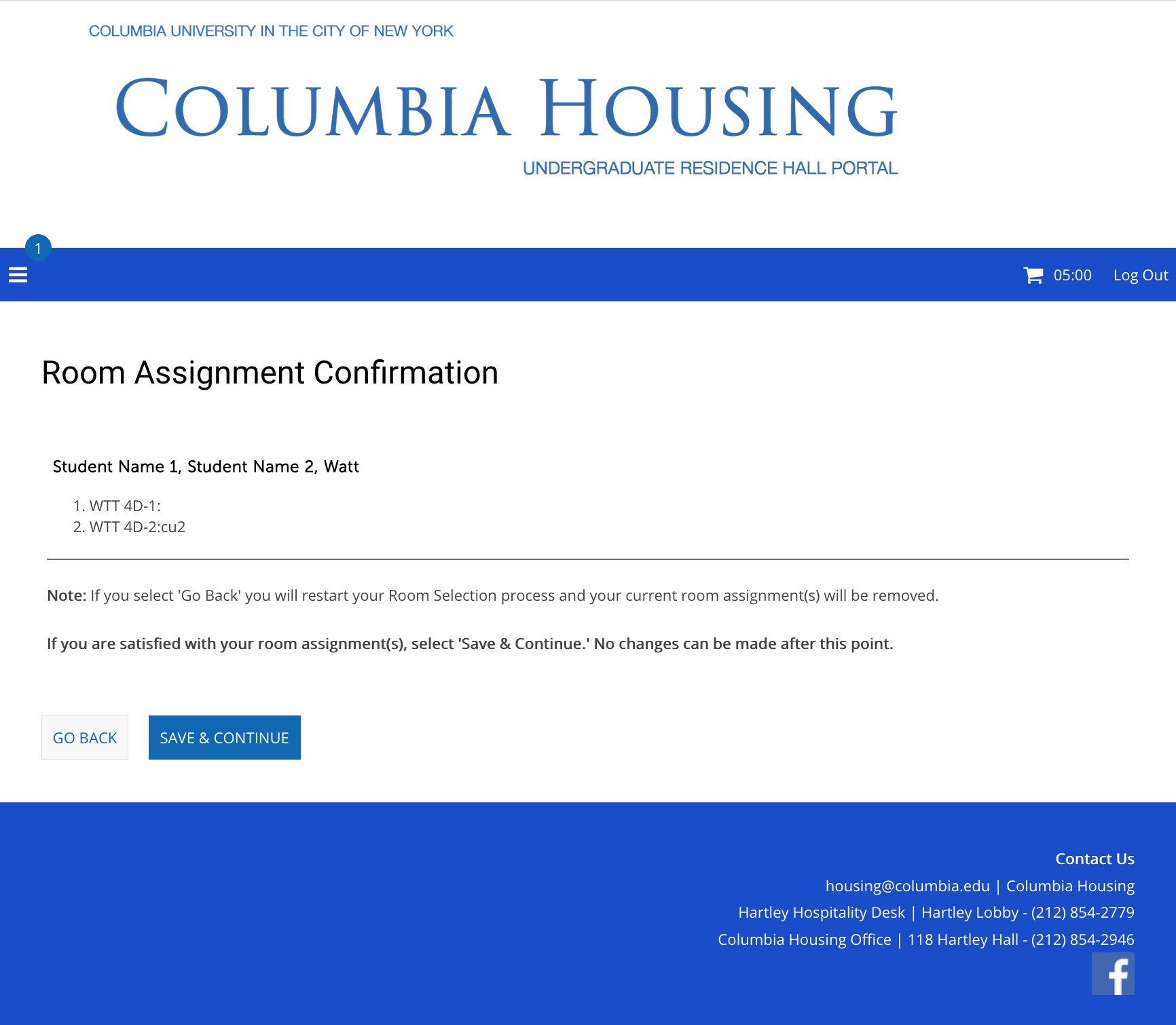 Step 4: Room Assignment Confirmation (Group Example)